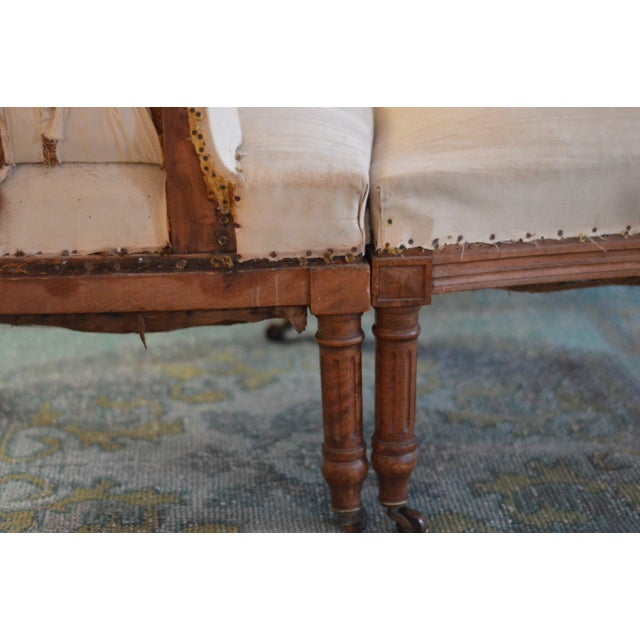 Antique French Napoleon Armchair and Ottoman - Image 8 of 9