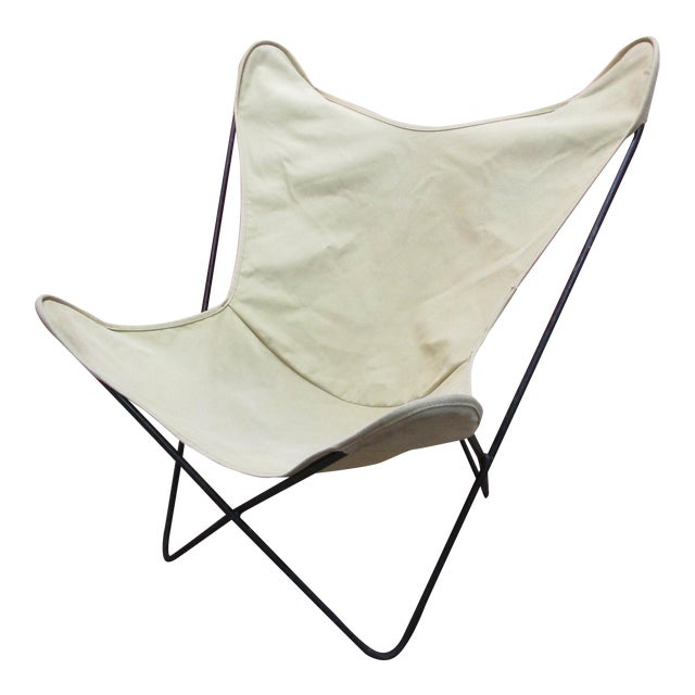 knoll hardoy white butterfly chair chairish. Black Bedroom Furniture Sets. Home Design Ideas