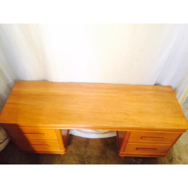 Art Deco Solid Light Oak Desk - Image 3 of 6