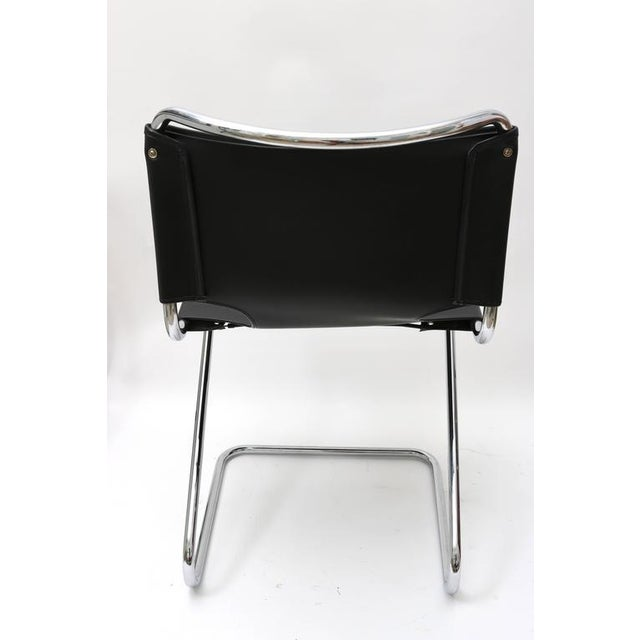 "Set of Four ""Briscia"" Side Chairs in Polished Chrome and Black Leather - Image 6 of 7"