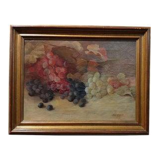 """19th Century """"September Grapes"""" Still Life"""