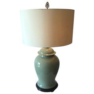 """Vintage Celadon Ginger Jar Lamp-Wood Base-33"""""""