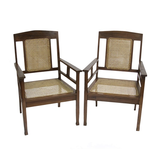 Colonial Armchair: British Colonial Armchairs - Pair