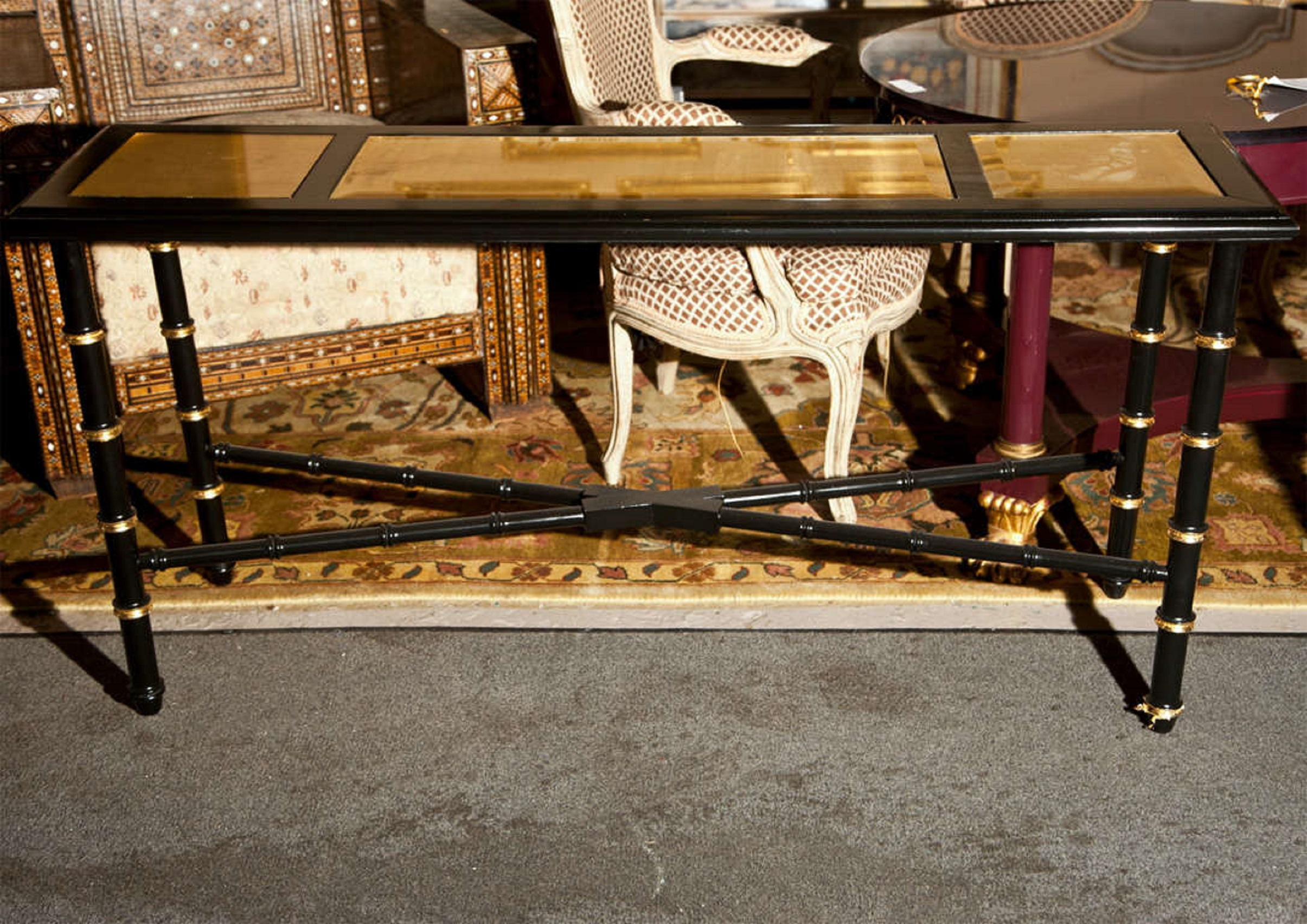 Superb Hollywood Regency Faux Bamboo Console Table   Image 2 Of 6
