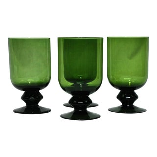 Green Glass Goblets - Set of 4