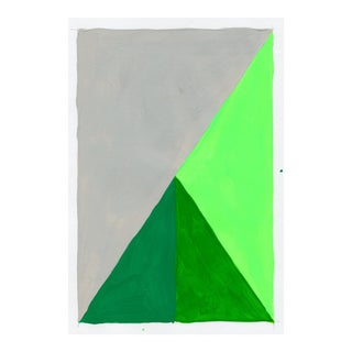Contemporary Geometric Neon Green & Gray Acrylic Painting