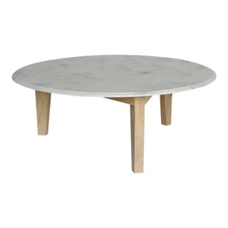 Round Marble & Wood Coffee Table