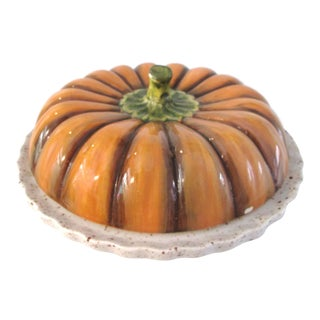 Vintage Ceramic Lidded Pumpkin Pie Dish