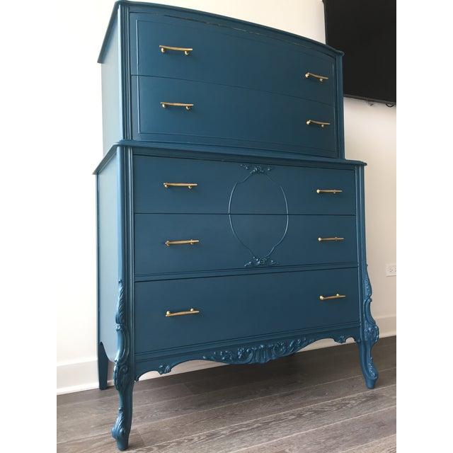Vintage Turquoise Blue Armoire Dresser   Chairish