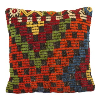 "Handmade Wool Turkish Vintage Pillow - 16"" x 16"""