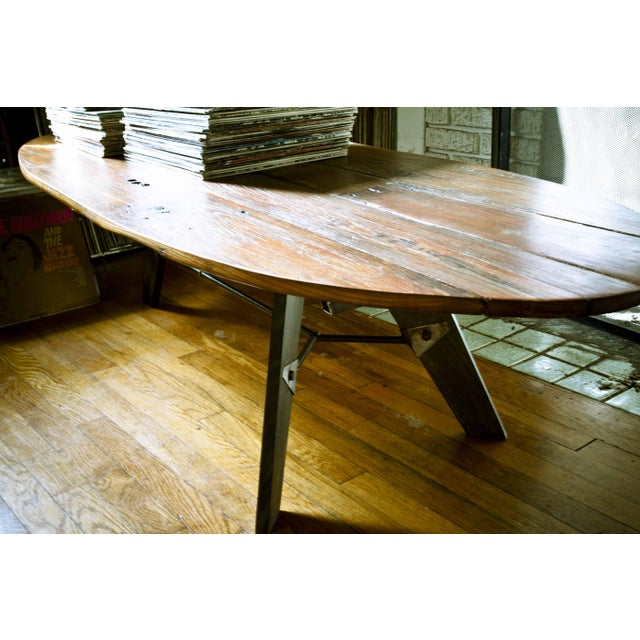Mid-Century Reclaimed Wood Surfboard Coffee Table