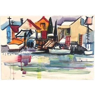 "Watercolor Harbor Scene by Lisbeth ""Bet"" Reed"