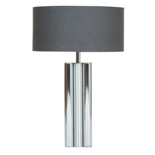 1970s Brushed and Polished Chrome Table Lamp