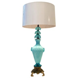 Vintage Italian Murano Glass and Bronze Mount Vase Style Table Lamp