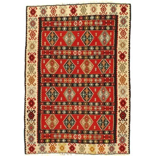 Vintage Red Turkish Kilim Rug - 7' X 10'