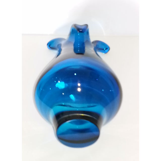 Mid-Century Modern Murano Style Blue Glass Vase - Image 5 of 11