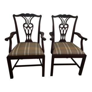 Baker Mahogany Chippendale Armchairs - A Pair
