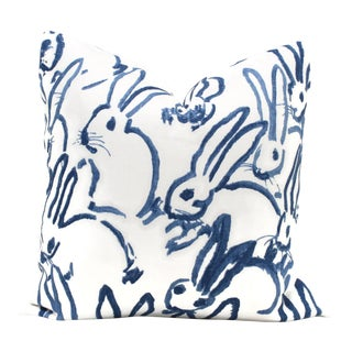 "20"" x 20"" Lee Jofa Groundworks Hutch Blue Bunny Pillow"