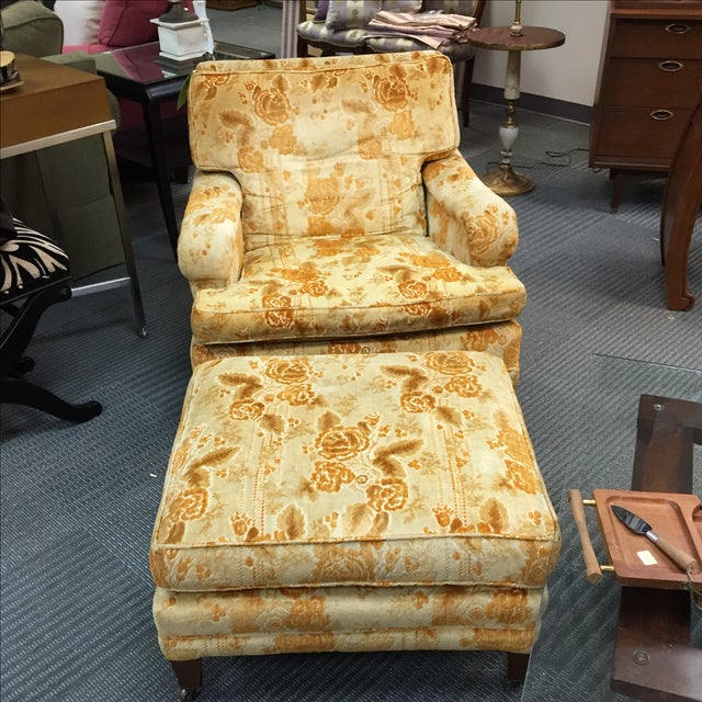 Mid-Century Golden Floral Chair & Ottoman - Image 4 of 4
