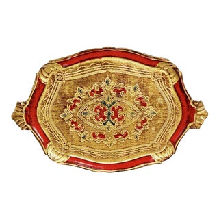 Italian Red Florentine Wood Painted & Gilded Tray