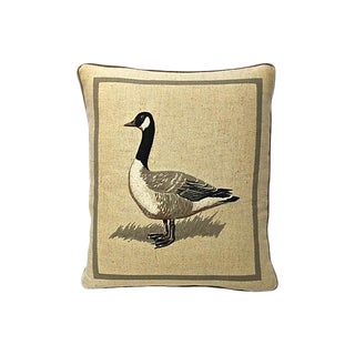 Lodge-Style Canadian Goose Motif LinenThrow Pillow