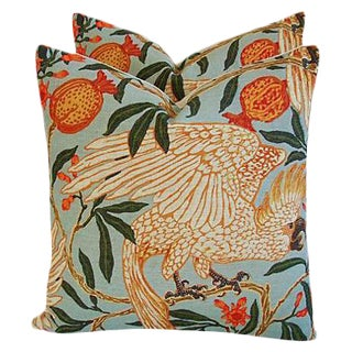 Colorful Tropical Parrot & Pomegranate Feather/Down Pillows - Pair