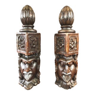 Antique Hand-Carved Newel Posts - A Pair