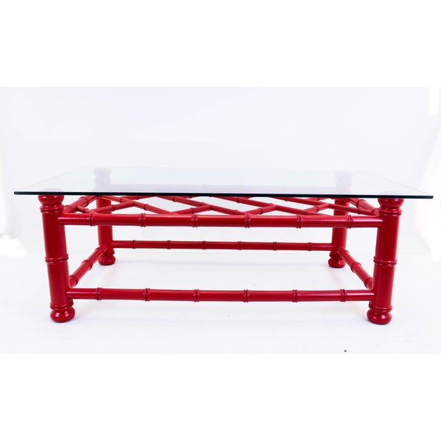 Palm Beach Style Coral Red Coffee Table - Image 8 of 9