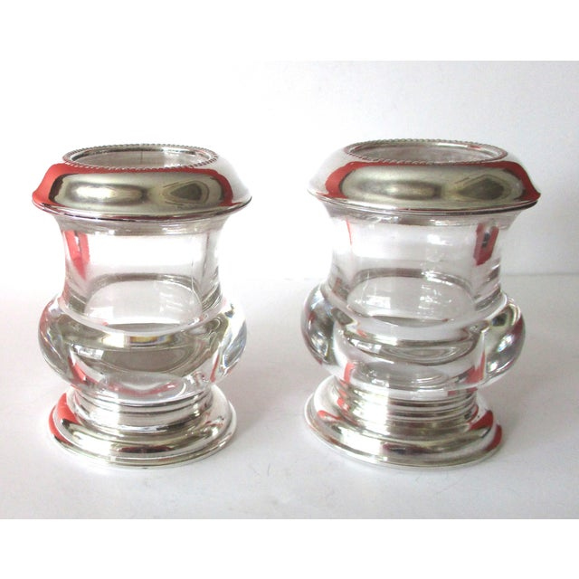 Vintage Silver & Glass Mini-Urn Vases - A Pair - Image 4 of 7