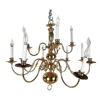 Brass Chandelier with Canopy
