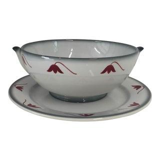 "Ceramic ""Galvani"" Serving Bowl & Plate - A Pair"