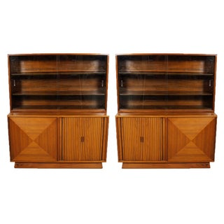 Mid-Century Walnut Tambour Door Sideboards - Pair