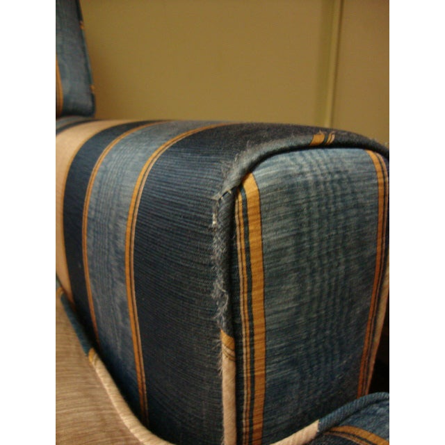 Vintage Moire Satin Armchair and Ottoman - Image 5 of 10