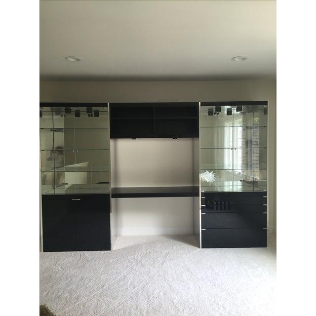 Ello Black Glass Curio Cabinet Desk - Image 2 of 11