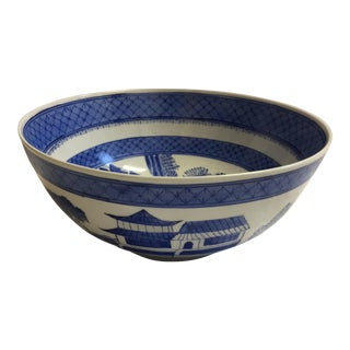 Hand Painted Mann Blue & White Porcelain Bowl