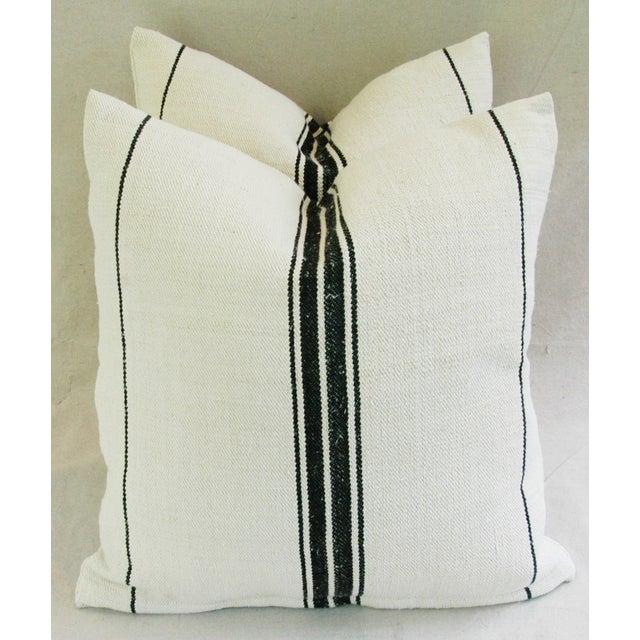 French Black Stripe Grain Sack Pillows - Pair - Image 6 of 8