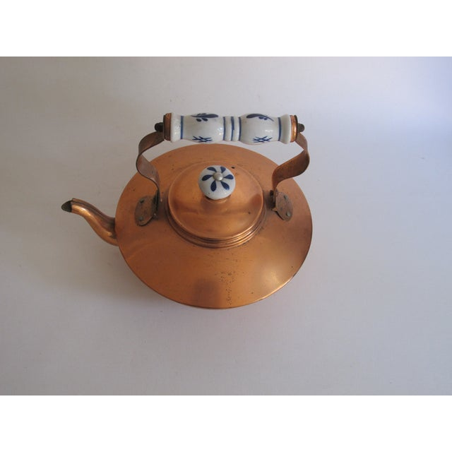 French Copper & Ceramic Teapot - Image 7 of 7