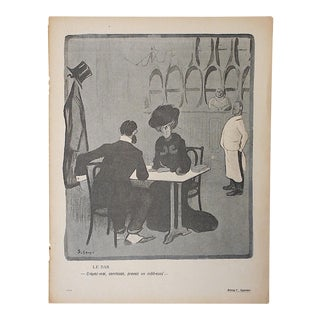 Antique French Lithograph of Satire Bars/Imbibing