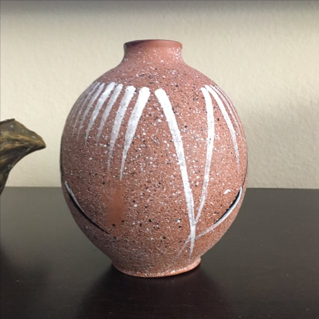 Mid Century Modern Abstract Hand Painted Vase - Image 3 of 8