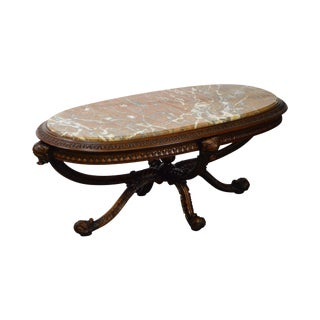 Rococo Carved Mahogany Oval Marble Top Coffee Table by Batesville Furniture
