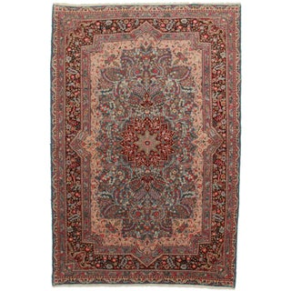"""Hand Knotted Wool Persian Kerman Rug - 6'7"""" X 9'10"""