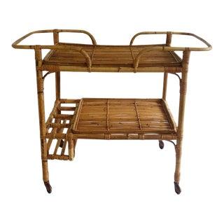 Vintage Bamboo 2-Tier Bar Cart