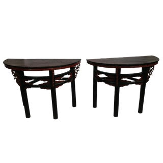 Antique Ningbo Carved Demilune Tables - A Pair