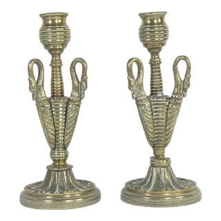 Antique Brass Swan Candlesticks - A Pair