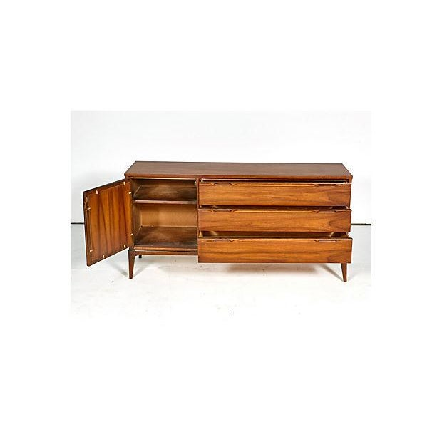 Image of Vintage 1960s Walnut & Caned Credenza