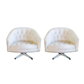 1970s Ward Bennett Tufted Swivel Chairs - Pair