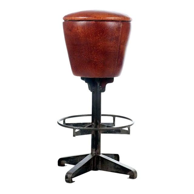 Round Leather Bar Stool - Image 1 of 2