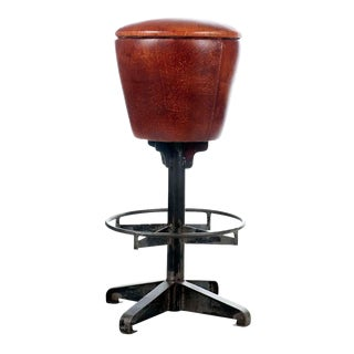 Round Leather Bar Stool