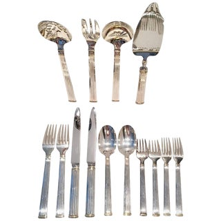 1990s Vintage Christofle Silver France Triade 24-Karat Gold Flatware - 14 Piece Set