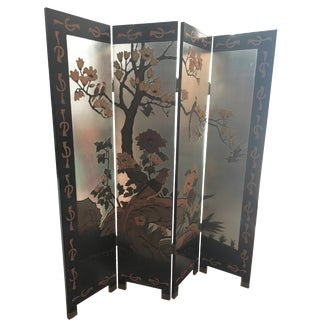 Vintage Hand-Carved Asian Screen